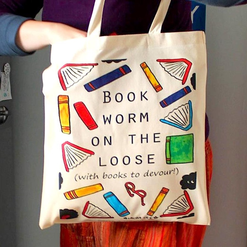 Bookworm on the Loose Tote Bag - gifts of 2018
