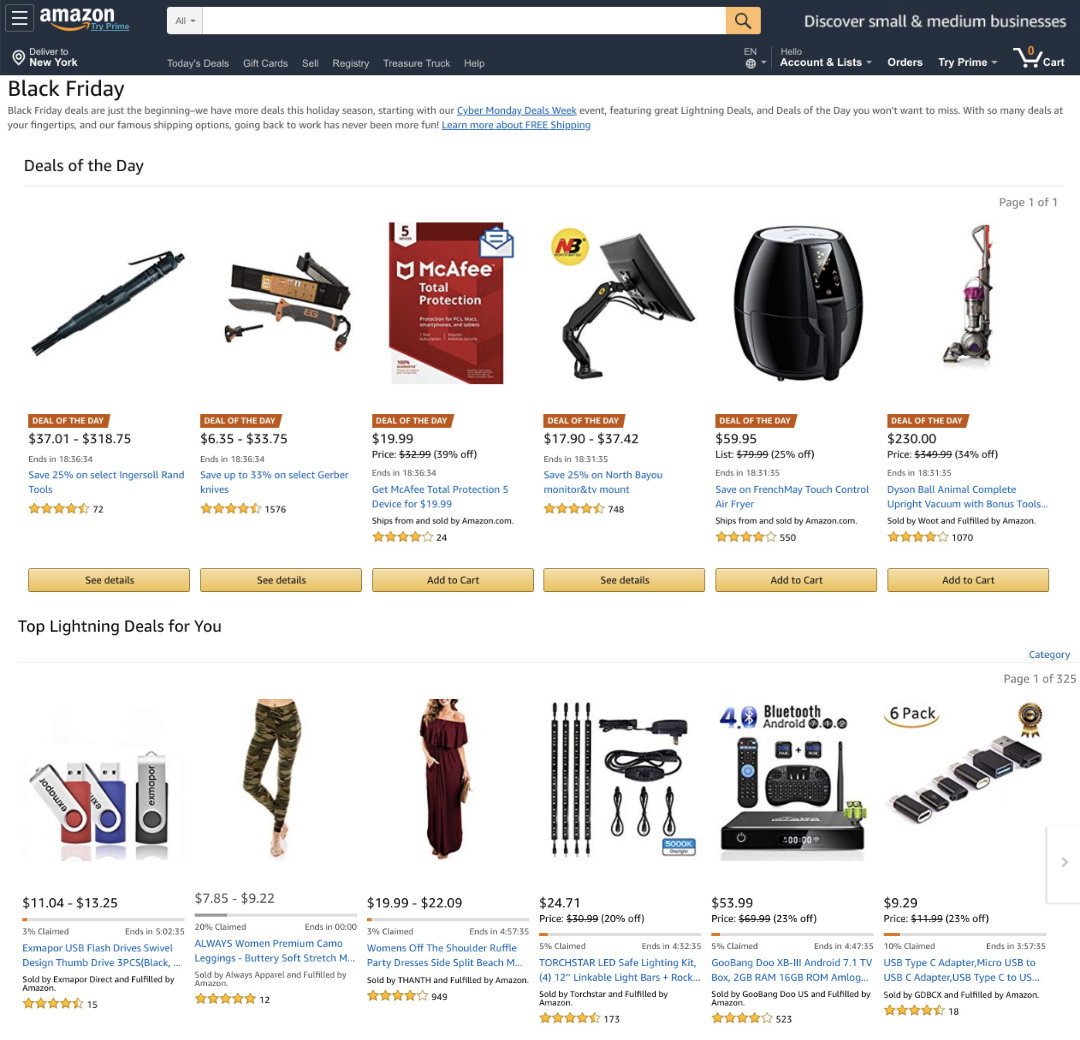 First deals on a Black Friday 2018 front page of Amazon online store