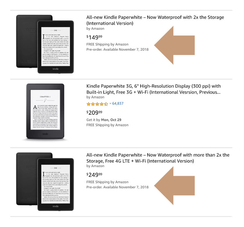 How to find international version of 4th generation Kindle Paperwhite 4 2018