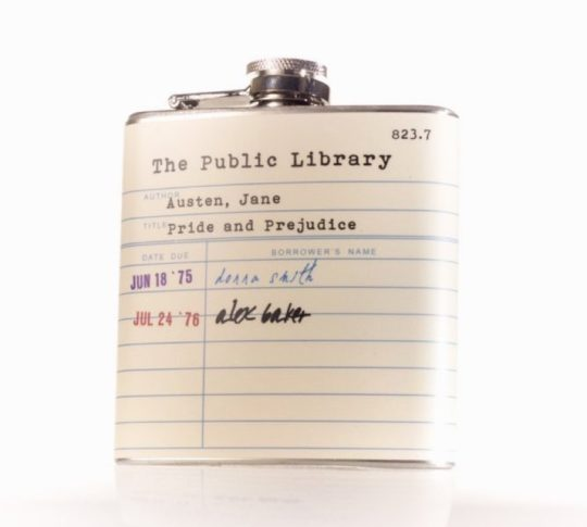 Jane Austen Public Library Card Hip Flask