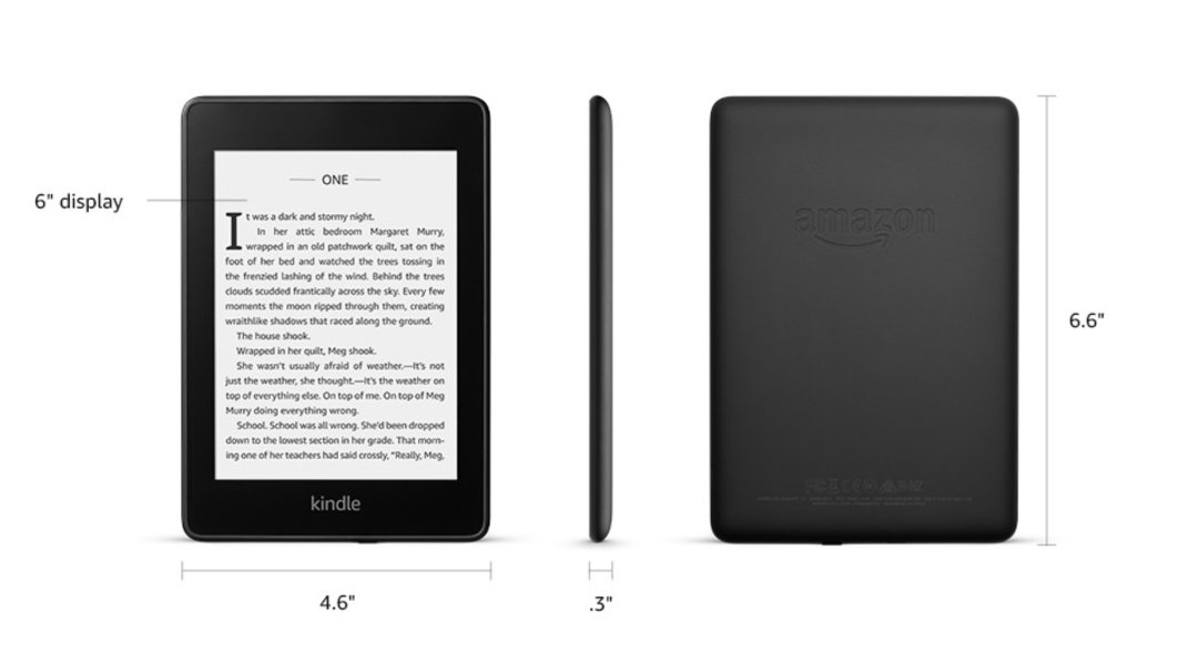 Kindle Paperwhite 4 2018 - dimensions and tech specs