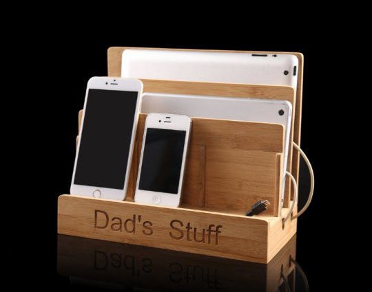 Personalized wooden iPad and iPhone organizer stand - a great gift idea for Father's Day or Christmas