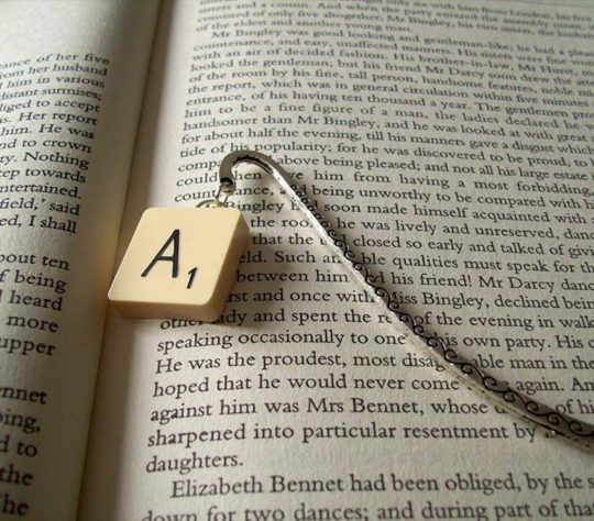Scrabble Bookmark from Recycled Vintage Game Pieces - bookish gifts 2018