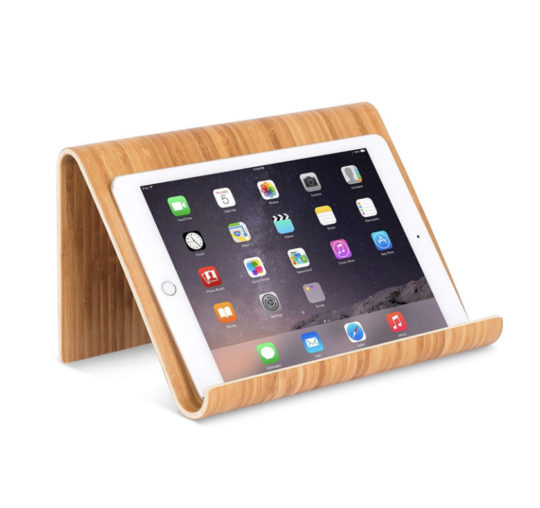 Desktop stable stand for iPad made of exotic bamboo