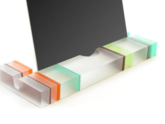 Modern designer striped translucent resin iPad stand