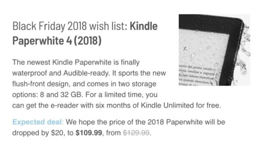 The 4th-gen Kindle Paperwhite may be discounted for Black Friday 2018
