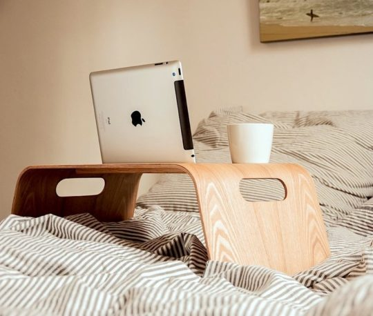 Wooden iPad stand holder with cup cradle