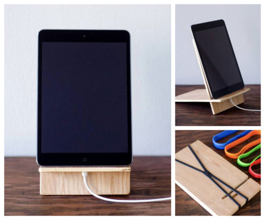 Wooden Collapsible iPad Stand and Docking Station