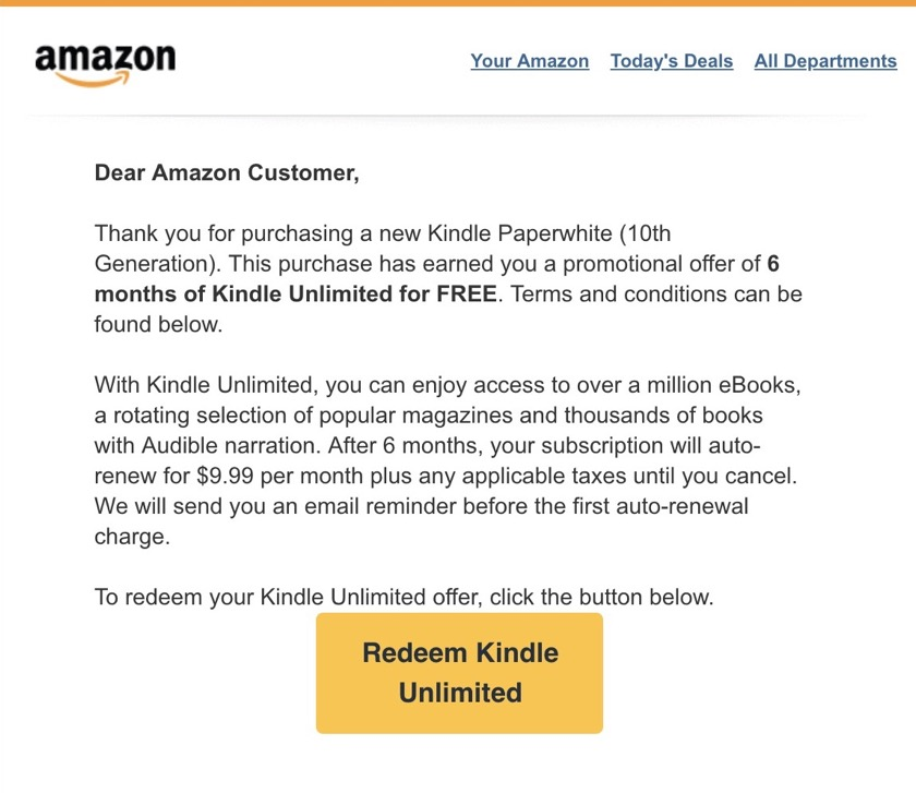 An email with an activation link for Kindle Unlimited