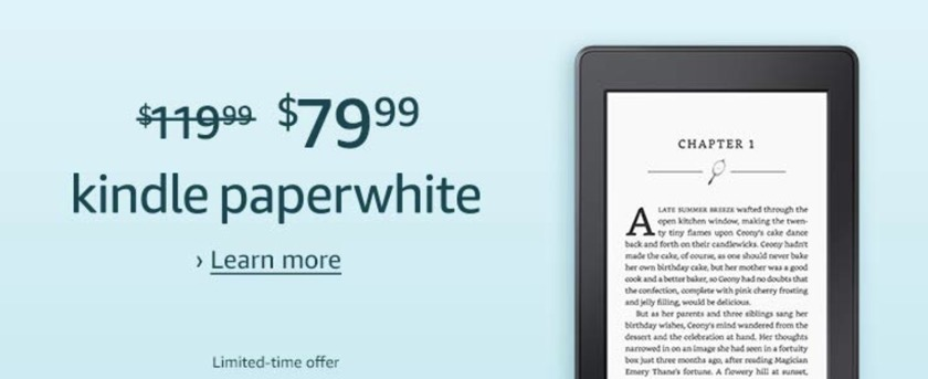 Cyber Monday 2018 - save 40 dollars on previous-generation Kindle Paperwhite