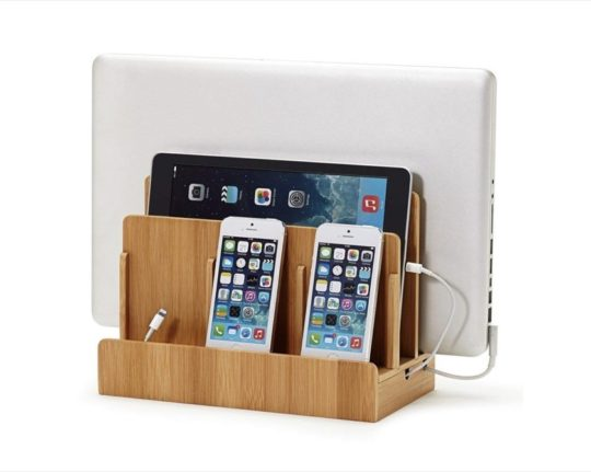 Eco Bamboo Multi-Device Charging Station Dock and Organizer