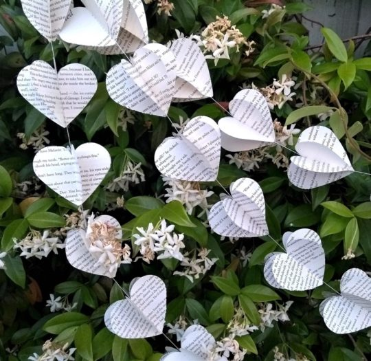 Upcycled Book Heart Garland - bookish gift ideas Black Friday Christmas 2018