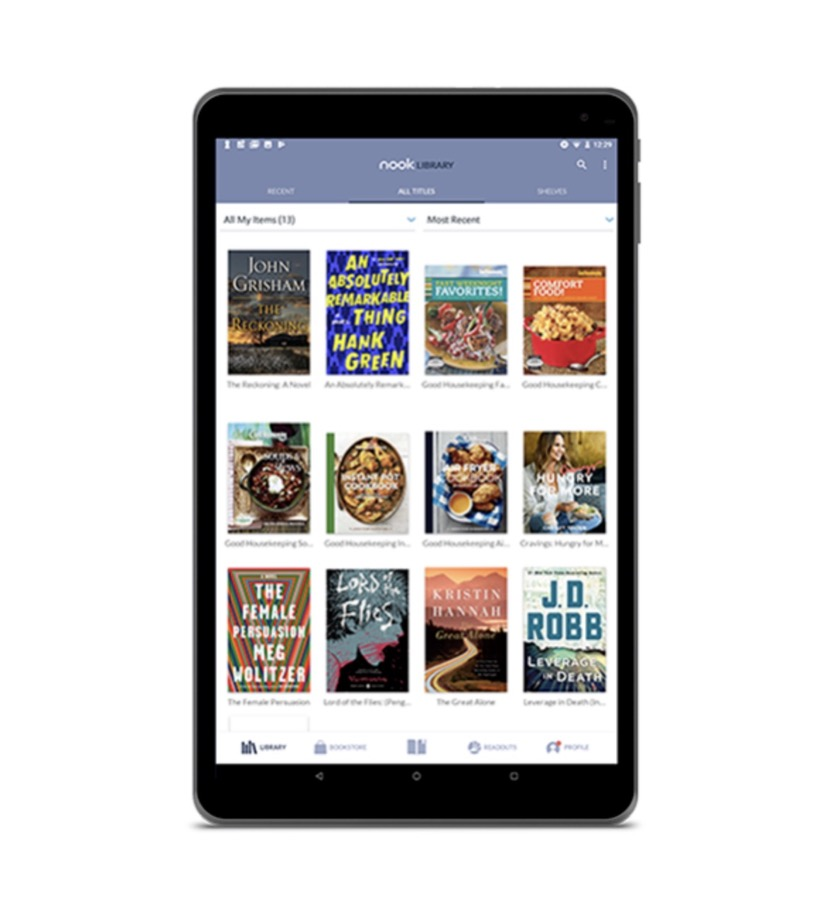 the 2018 Nook tablet 10.1 - book library