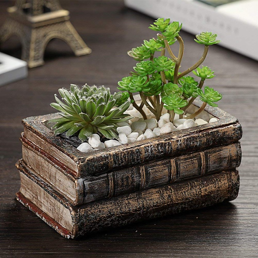 Book-shaped home decor - Yournelo flower palnt pot