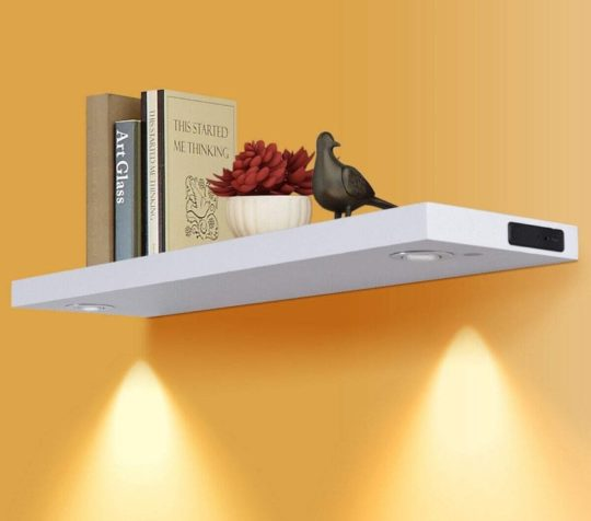 Floating bookshelf with LED lights