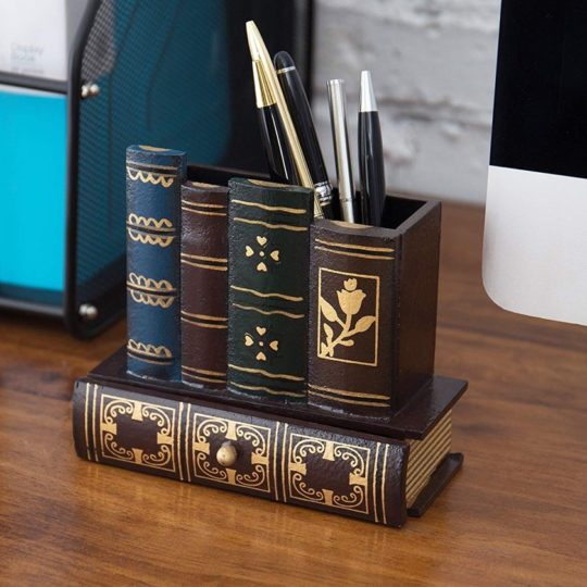 Pencil holder that looks like a stack of books