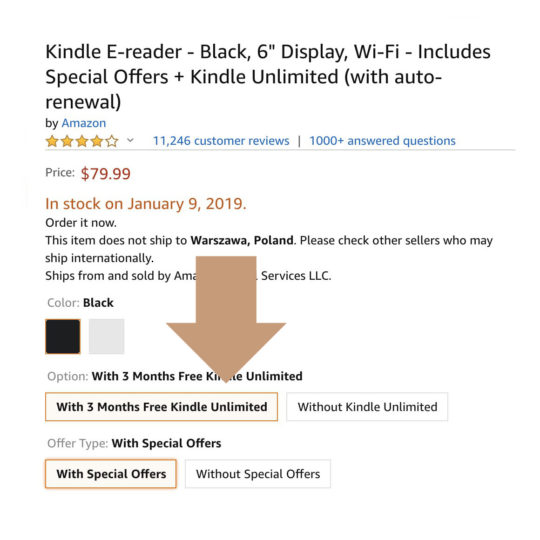 Get the basic Kindle with free 3-month Kindle Unlimited
