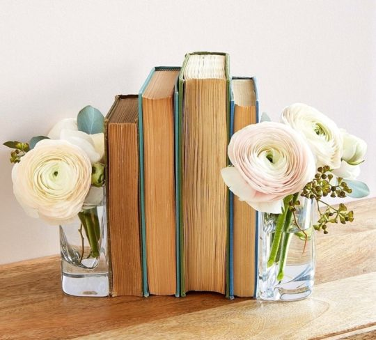 Glass vase bookends - home decor for book lovers