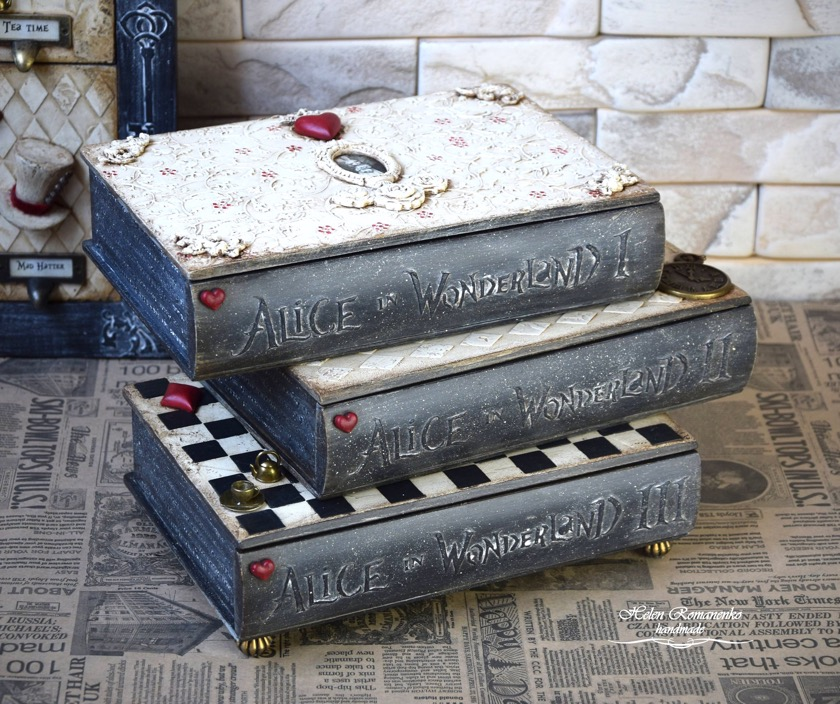 Home decor book-like - Alice in Wonderland furniture book box