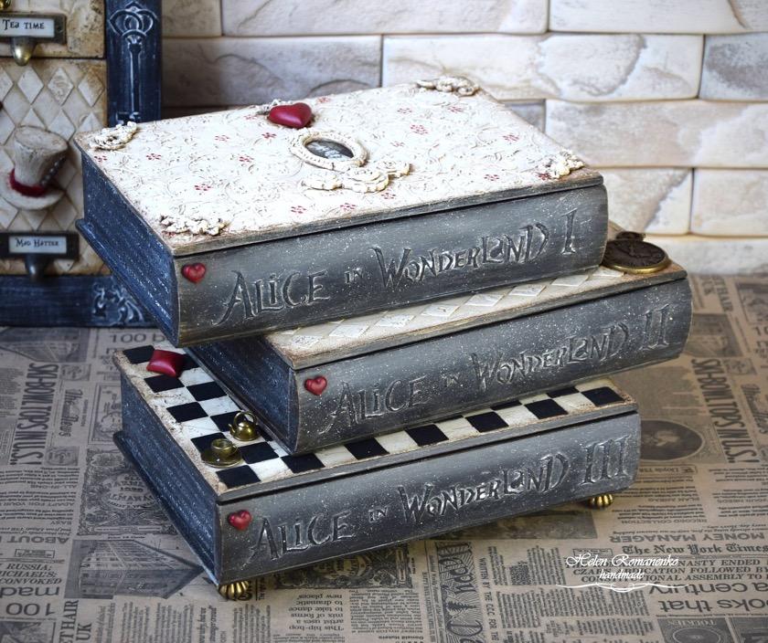 Home decor book-like - Alice in Wonderland furniture book box