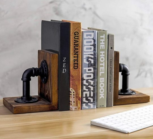 Home decor essentials for book lovers - steampunk industrial bookends