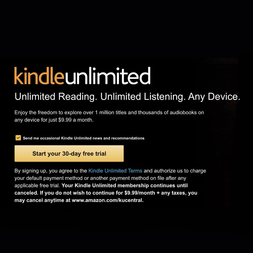 Kindle Unlimited long-term plans no longer available on Amazon