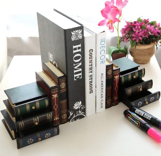 "MyGift ""Stack of Books"" bookends & organizer"