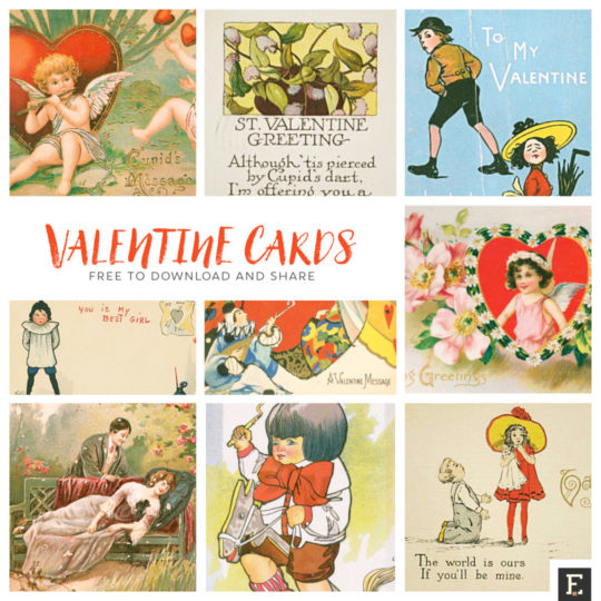 Retro valentine cards adjusted to share via email and in social networks