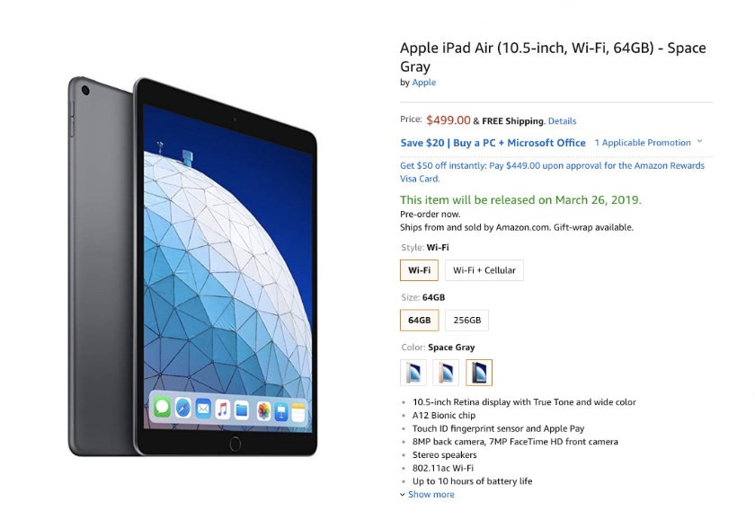 Apple iPad Air 3 (2019 release) is available for pre-order on Amazon