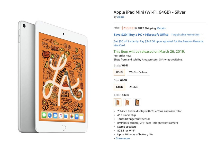 Apple iPad mini 5 (2019 release) is available for pre-order on Amazon