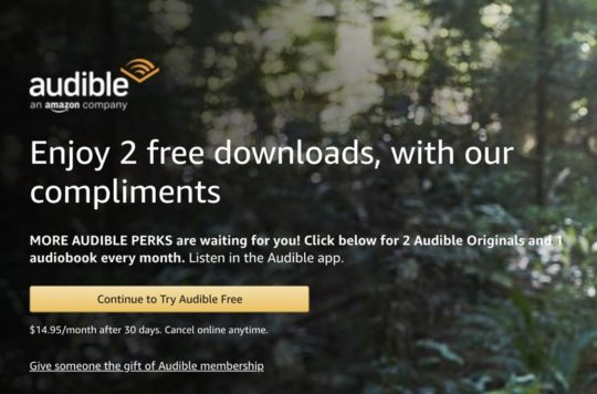 Audible membership sign up page on Amazon - two free audiobooks
