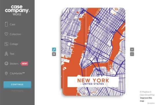 Case Company lets create amazing iPad case using the map graphics