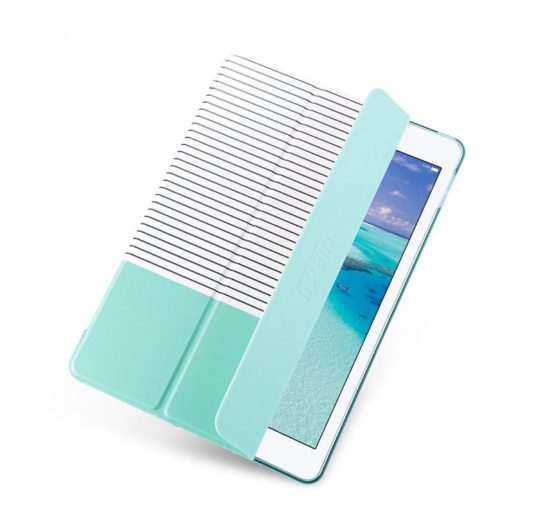 Designer iPad 9.7 case with mint-colored transparent case