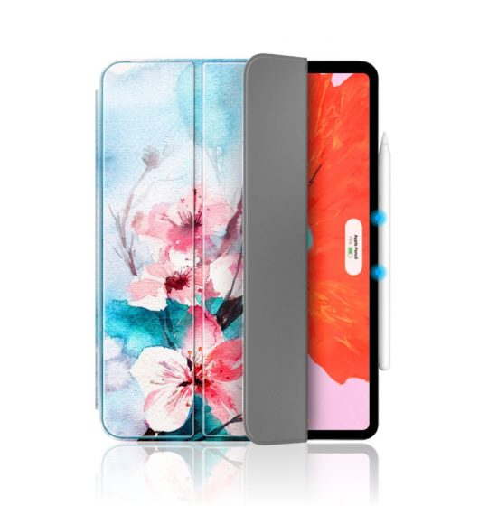 Flower watercolor iPad Pro 12.9 case with Apple Pencil wireless support