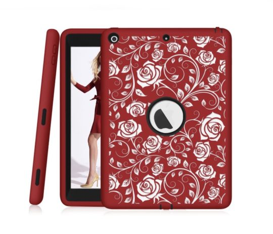 Heavy-duty Apple iPad case with bold florar design - girls best friend