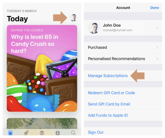 How to cancel a subscription on the iPad or iPhone - use App Store app
