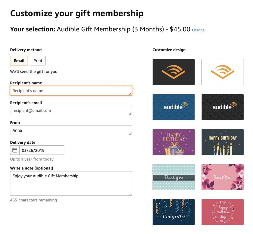 How to gift Audible subscription - customize your gift