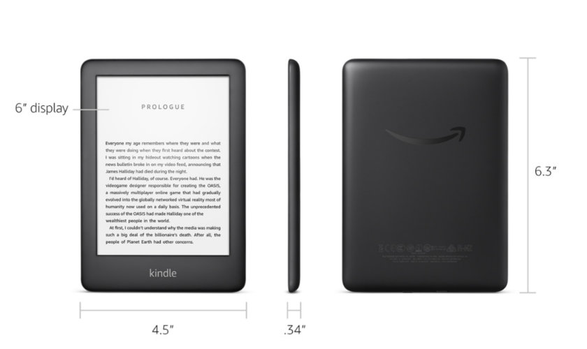 Kindle 2019 tech specs dimensions