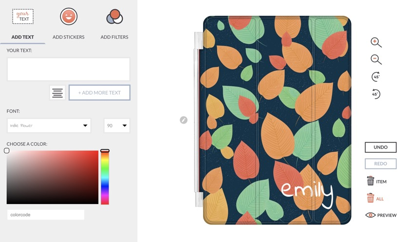 Personalization dashboard on Go Customized - a great destination for custom tri-fold iPad cases