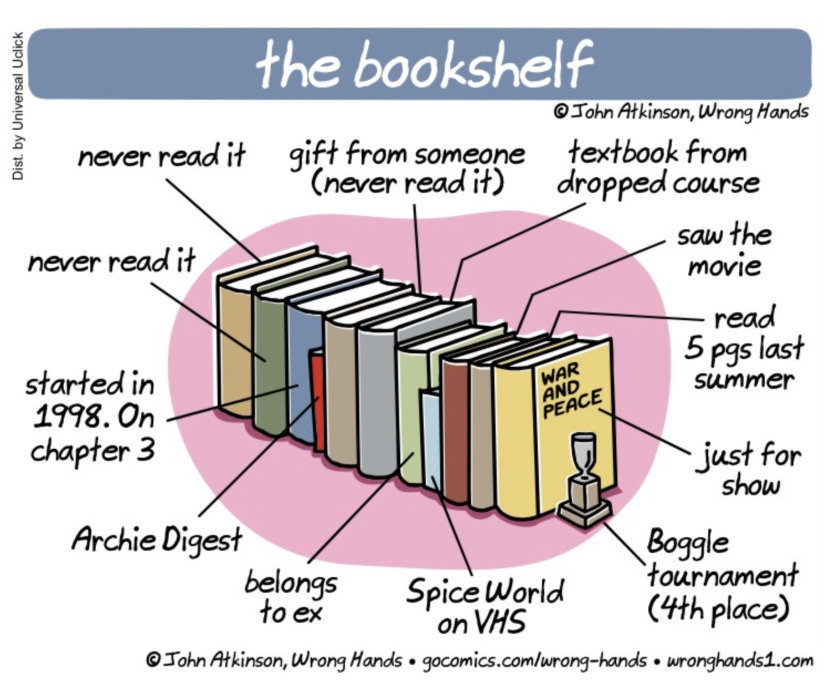 Rearranging the bookshelf - a cartoon by John Atkinson