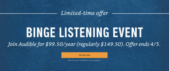 Save $50 on the annual Audible membership plan