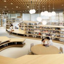 A children's books section of the Kikuchi City Central Library