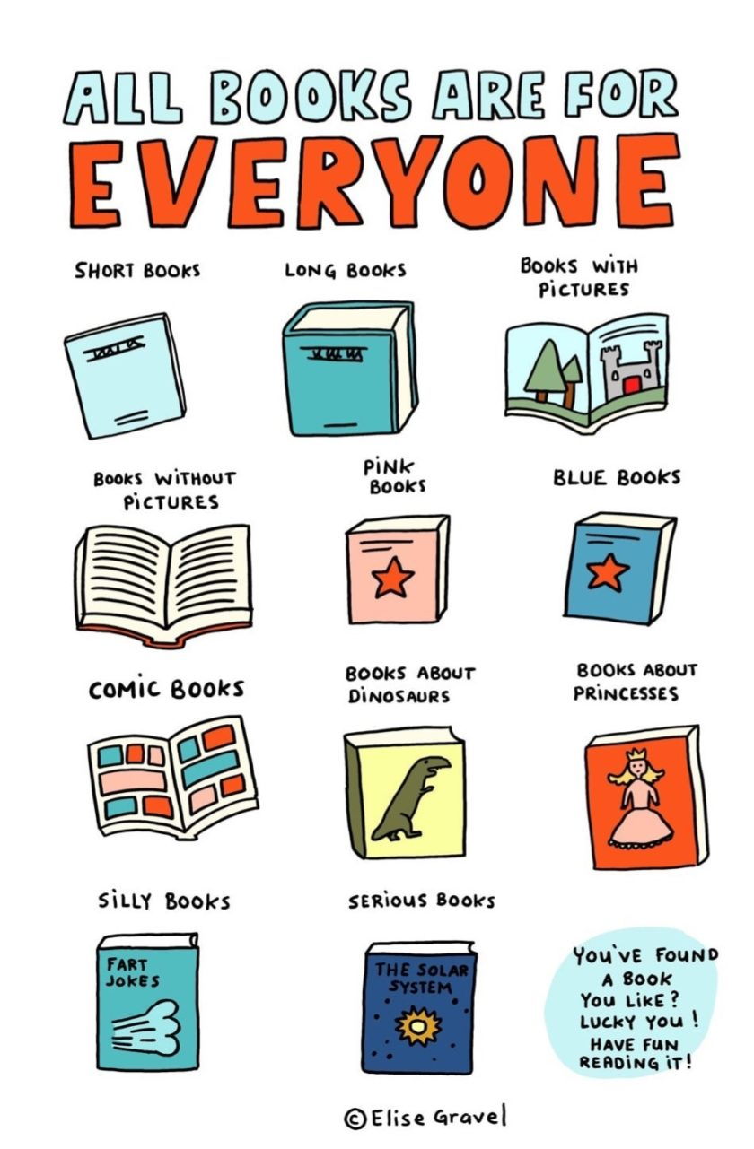 All books are for everyone! - a poster by Elise Gravel
