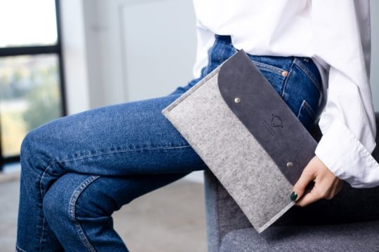 Felt and leather iPad Pro 11-inch sleeve from City Sheep Store