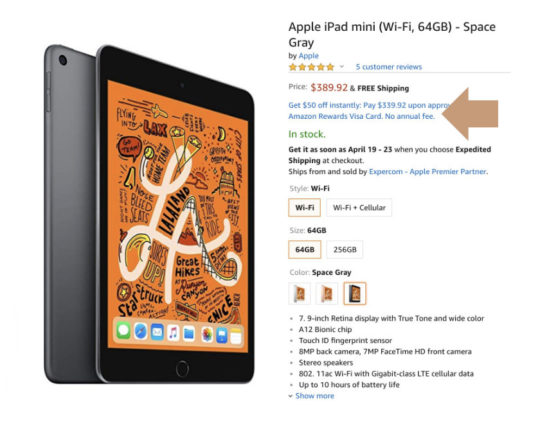 Buy iPad mini 5 on Amazon and save $50