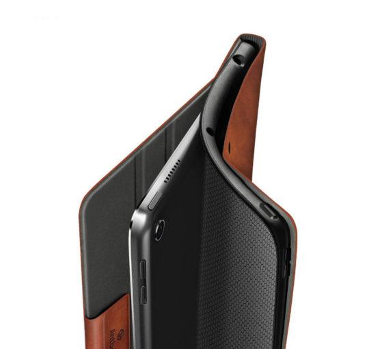 Classic leather folio case for iPad mini 4 with innovative flexible back cover