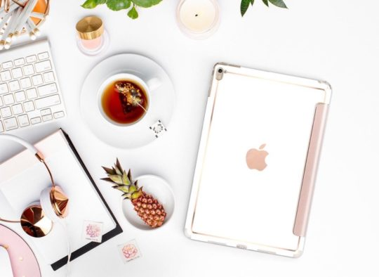 Elegant White with Rose Gold iPad Smart Cover from Clique Boutique