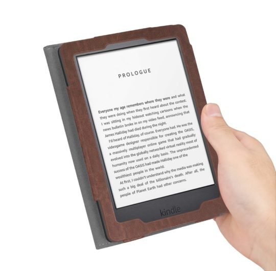 Walmart - this premium Kindle case from Fintie combines fabric texture with faux leather