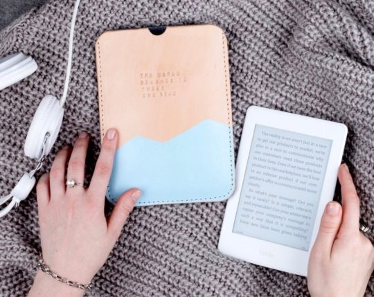 Personalized monogrammed leather sleeve for Kindle 10th-generation released in 2019