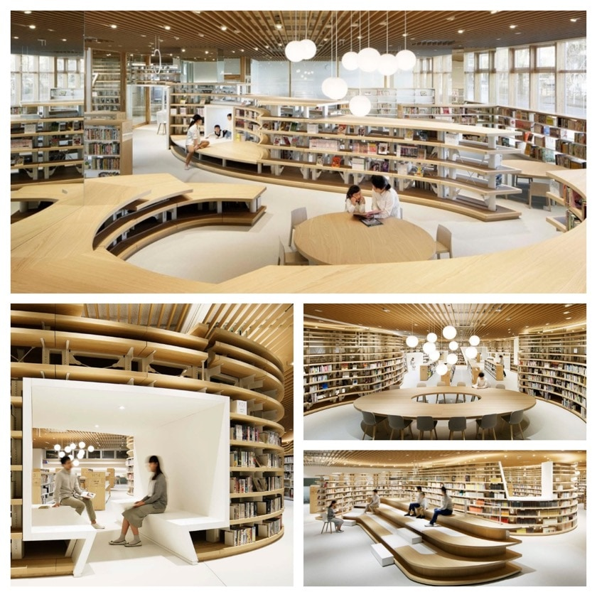 River-inspired public library in Kikuchi, Japan